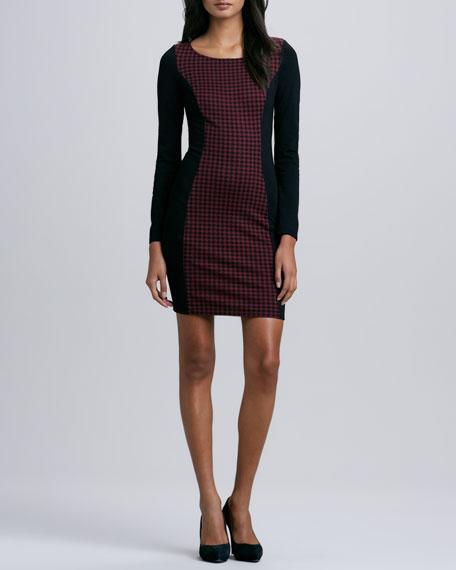 Tippy Long-Sleeve Checker Dress, Burgundy