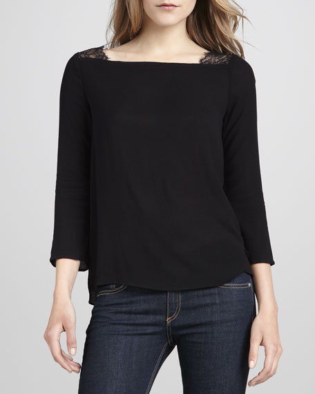 Waverly 3/4-Sleeve Lace Top, Black