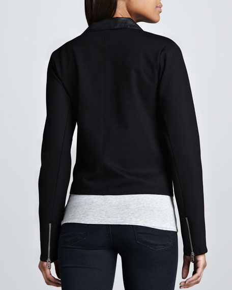 Faux-Leather Combo Moto Jacket