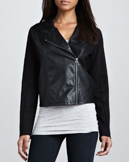 C&C California Faux-Leather Combo Moto Jacket