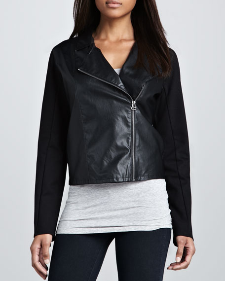 Faux-Leather Combo Moto Jacket