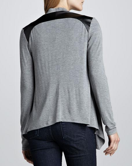 Leather-Shoulder Drape Cardigan