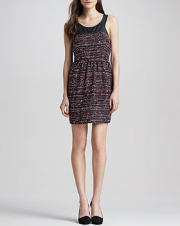Madison Marcus Leather-Top Tweed Dress