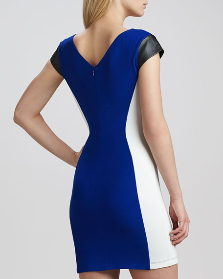 Cap-Sleeve Colorblock Illusion Dress