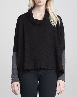 Velvet by Graham & Spencer Dual-Knit Long-Sleeve Sweater, Black/Gray