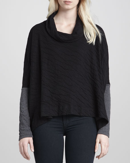Dual-Knit Long-Sleeve Sweater, Black/Gray