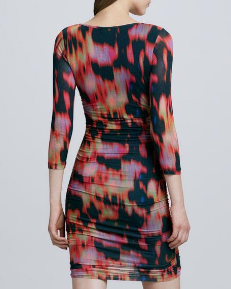 3/4-Sleeve Flame-Pattern Dress, Orange