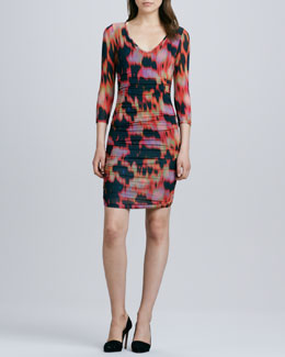 Velvet by Graham & Spencer 3/4-Sleeve Flame-Pattern Dress, Orange