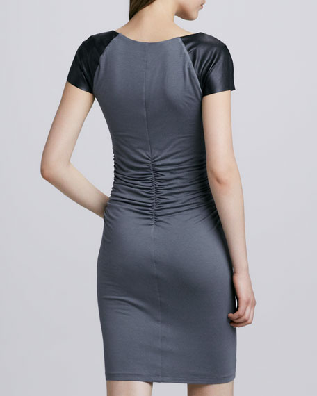Carine Faux-Leather Skinny Dress, Dark Gray