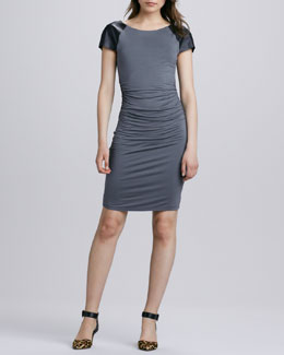 Velvet Carine Faux-Leather Skinny Dress, Dark Gray