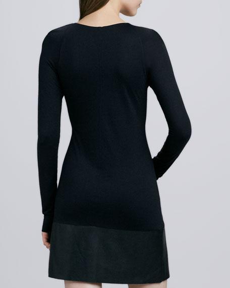 Viveca Faux-Leather Panel Dress, Black