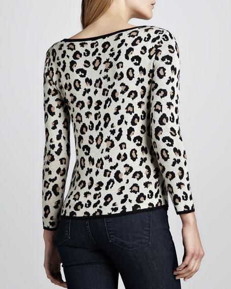 Leopard-Print Jacquard Sweater