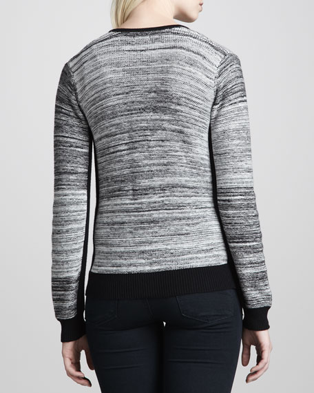 Zip-Front Marled Sweater, Black