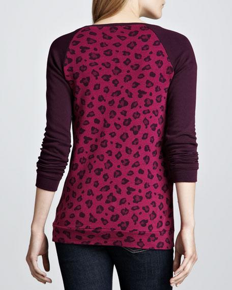 Leopard-Print Raglan Sweatshirt, Wine