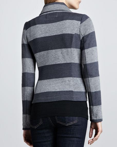 Striped Fleece Motorcycle Jacket, Gray