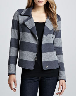 Splendid Striped Fleece Motorcycle Jacket, Gray