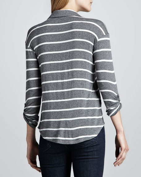 Striped Button-Up Top, Gray