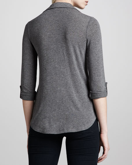 Drapey Lux Double-Pocket Shirt, Charcoal