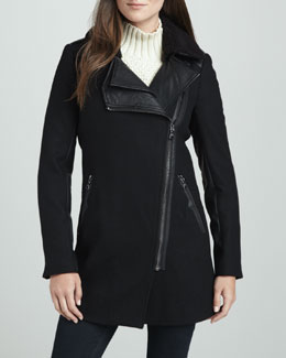 Sam Edelman Moto-Style Double-Collar Coat