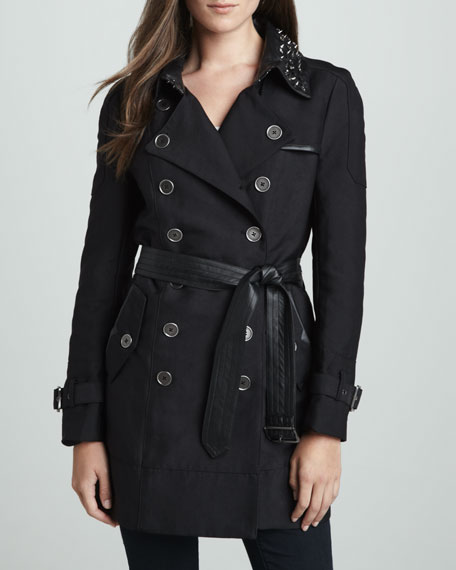 Belted Trench with Studded Collar
