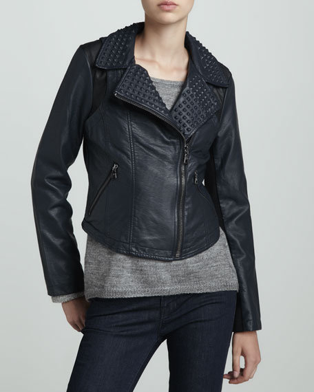 Faux-Leather Studded-Collar Jacket