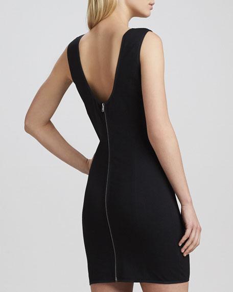 Leather-Striped Ponte Sheath Dress