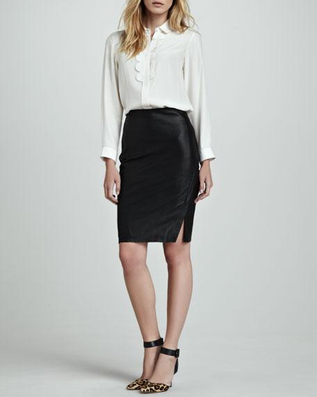Side-Slit Leather Pencil Skirt