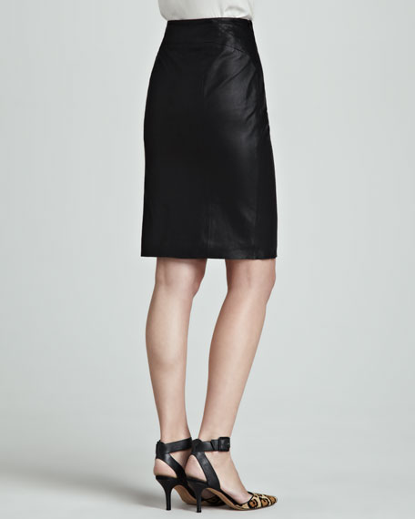 Side-Slit Leather Pencil Skirt