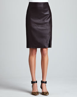 LaMarque Leather Pencil Skirt, Plum