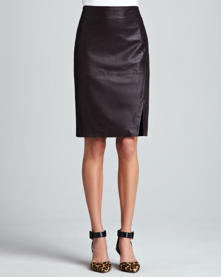 Leather Pencil Skirt, Plum