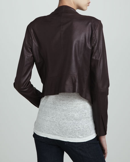 Leather Cropped Blazer, Plum