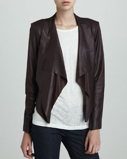 LaMarque Leather Cropped Blazer, Plum