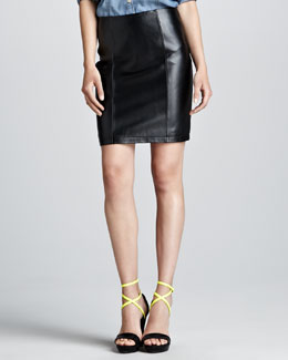 Cusp by Neiman Marcus Leather Pencil Skirt, Black
