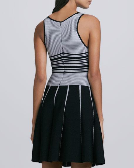 Nia Striped Knit Dress, Black