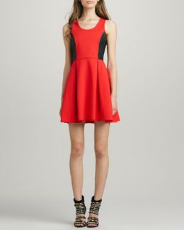 Parker Olivia Perforated Leather-Panel Dress