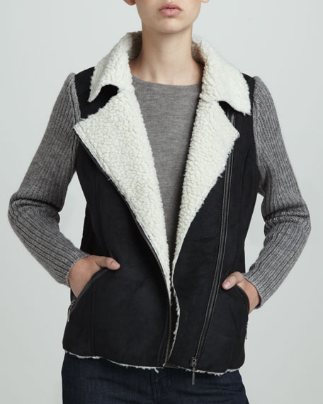 Knit-Sleeve Combo Moto Jacket