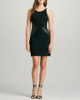 PJK Stretch Limo Leather-Panel Dress