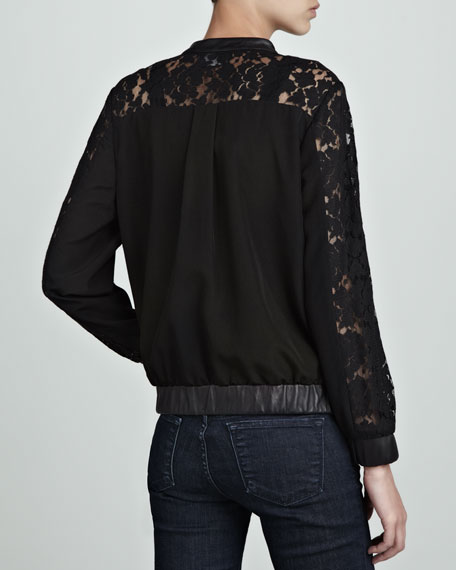 Gretta Lace and Leather Jacket