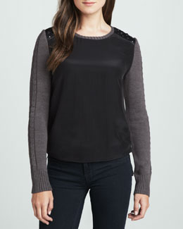 Boundary Gianna Studded-Shoulder Sweater