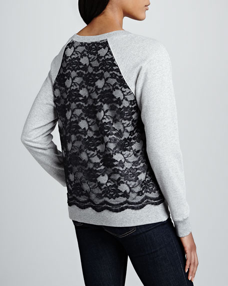 Lace-Body Pullover Sweatshirt
