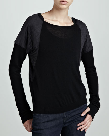 Quilted-Shoulder Combo Top