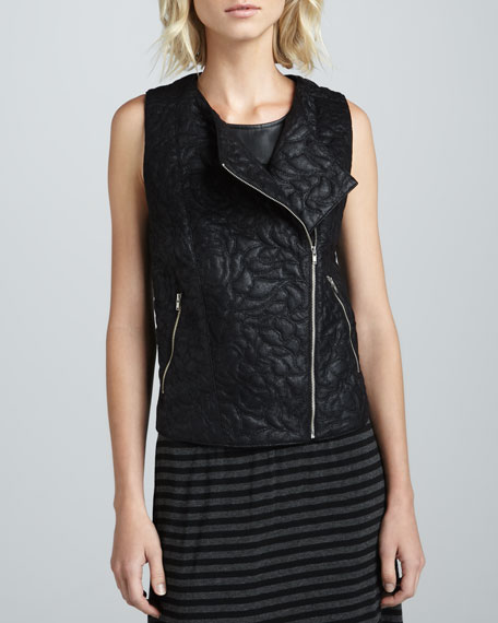 Quilted Faux-Leather Zip Vest