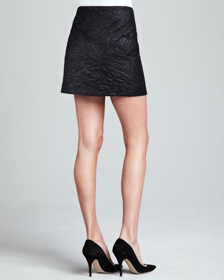 Quilted Faux-Leather Skirt