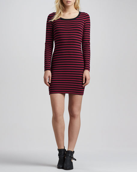 Sangria Fitted Long-Sleeve Striped Dress