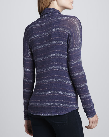 Metallic-Stripe Cowl-Neck Sweater