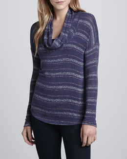 Splendid Metallic-Stripe Cowl-Neck Sweater