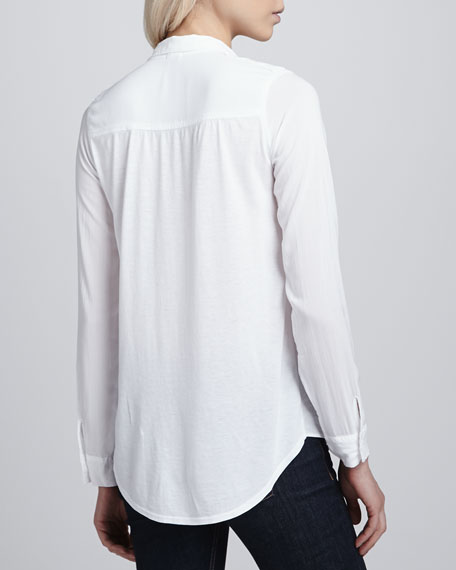 Chest-Pocket Shirting Blouse