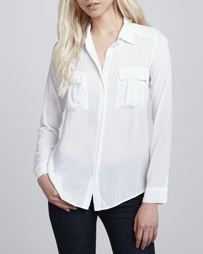 Splendid Chest-Pocket Shirting Blouse