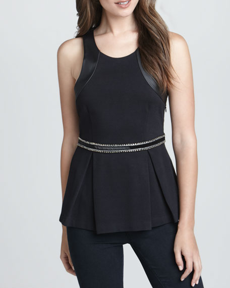 Beaded-Waist Peplum Top