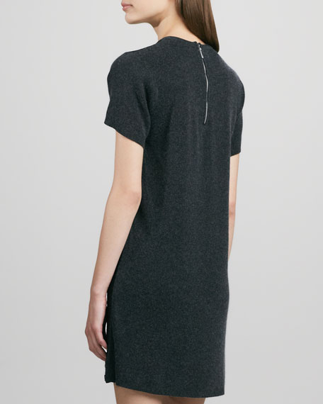 Short-Sleeve Lace-Front Dress
